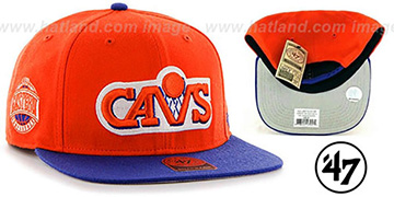 Cavaliers SURE-SHOT SNAPBACK Orange-Royal Hat by Twins 47 Brand