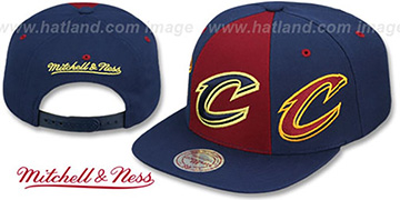 Cavaliers TRIPLE STACK SNAPBACK Burgundy-Navy Hat by Mitchell and Ness