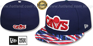 Cavaliers USA WAVING-FLAG Navy Fitted Hat by New Era