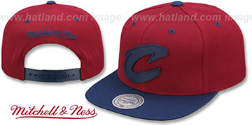 Cavaliers XL RUBBER WELD SNAPBACK Burgundy-Navy Adjustable Hat by Mitchell and Ness