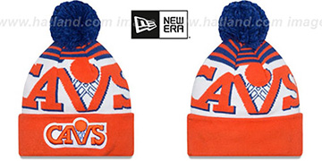 Cavaliers 'LOGO WHIZ' Royal-Orange Knit Beanie Hat by New Era