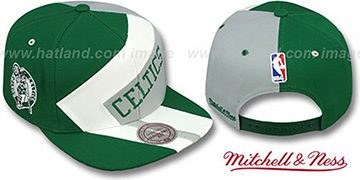 Celtics '1-ON-1 SNAPBACK' Green-White-Grey Hat by Mitchell & Ness