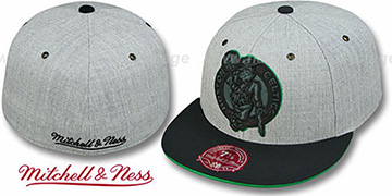 Celtics '2T XL-LOGO FADEOUT' Grey-Black Fitted Hat by Mitchell & Ness