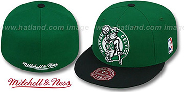 Celtics 2T XL-LOGO Green-Black Fitted Hat by Mitchell & Ness