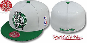 Celtics '2T XL-LOGO' Grey-Green Fitted Hat by Mitchell & Ness