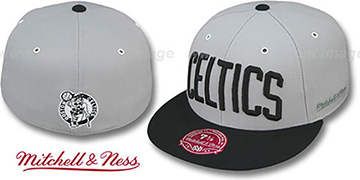 Celtics 2T XL-WORDMARK Grey-Black Fitted Hat by Mitchell & Ness