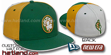 Celtics BACK INSIDER PINWHEEL Green-Gold-White Fitted Hat
