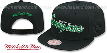 Celtics CITY NICKNAME SCRIPT SNAPBACK Black Hat by Mitchell and Ness