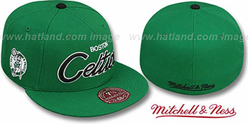 Celtics CLASSIC-SCRIPT Green Fitted Hat by Mitchell & Ness