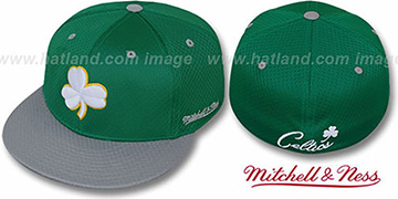 Celtics CLOVER ALT 2T BP-MESH Green-Grey Fitted Hat by Mitchell & Ness