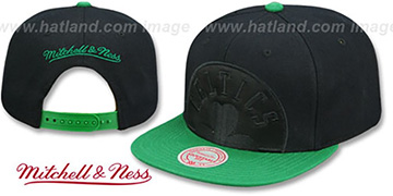 Celtics 'CROPPED SATIN SNAPBACK' Black-Green Adjustable Hat by Mitchell and Ness