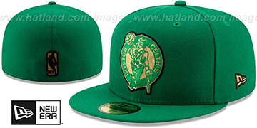 Celtics GOLD METALLIC STOPPER Green Fitted Hat by New Era