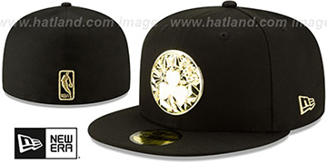 Celtics GOLD SHATTERED METAL-BADGE Black Fitted Hat by New Era