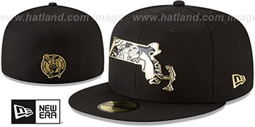 Celtics GOLD STATED METAL-BADGE Black Fitted Hat by New Era