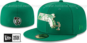 Celtics GOLD STATED METAL-BADGE Green Fitted Hat by New Era