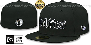Celtics GOTHIC TEAM-BASIC Black Fitted Hat by New Era