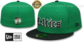Celtics GOTHIC TEAM-BASIC Green-Black Fitted Hat by New Era