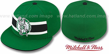 Celtics HARDWOOD TIMEOUT Green Fitted Hat by Mitchell & Ness