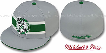 Celtics HARDWOOD TIMEOUT Grey Fitted Hat by Mitchell & Ness