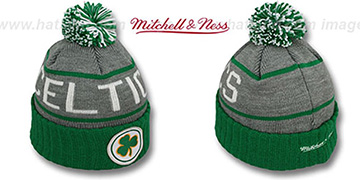 Celtics HIGH-5 CIRCLE BEANIE Grey-Green by Mitchell and Ness