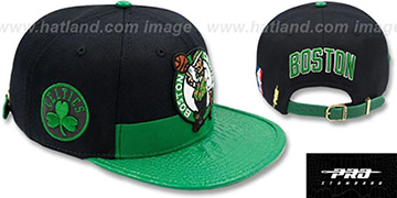 Celtics HORIZON STRAPBACK Black-Green Hat by Pro Standard