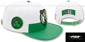 Celtics HORIZON STRAPBACK White-Green Hat by Pro Standard