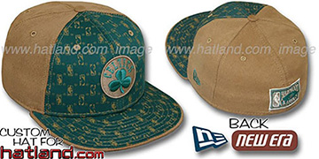 Celtics HW-NBA FLOCKING PINWHEEL Green-Oak Fitted Hat