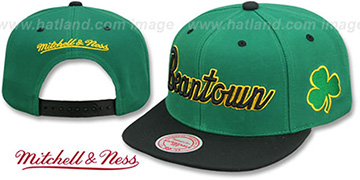 Celtics HWC CITY NICKNAME SCRIPT SNAPBACK Green-Black Hat by Mitchell and Ness
