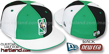 Celtics KEY-INSIDER PINWHEEL Kelly-Black-White Fitted Hat