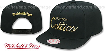 Celtics LIQUID METALLIC SCRIPT SNAPBACK Black-Gold Hat by Mitchell and Ness