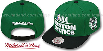 Celtics 'MEDIA-DAY SNAPBACK' Green-Black Hat by Mitchell & Ness