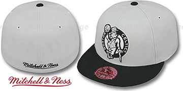Celtics MONOCHROME XL-LOGO Grey-Black Fitted Hat by Mitchell & Ness