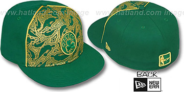 Celtics 'NBA-FOIL' Green-Gold Fitted Hat by New Era