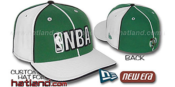 Celtics NBA 'PINWHEEL-3' Kelly-White Fitted Hat by New Era