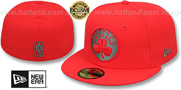 Celtics NBA TEAM-BASIC Fire Red-Charcoal Fitted Hat by New Era