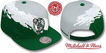 Celtics 'PAINTBRUSH SNAPBACK' Grey-White-Green Hat by Mitchell & Ness