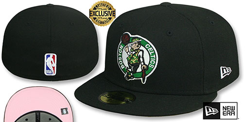 Celtics PINK-BOTTOM Black Fitted Hat by New Era