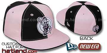 Celtics PINWHEEL Black-Pink Fitted Hat by New Era