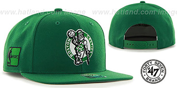 Celtics SURE-SHOT SNAPBACK Green Hat by Twins 47 Brand