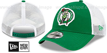 Celtics FRAYED LOGO TRUCKER SNAPBACK Hat by New Era