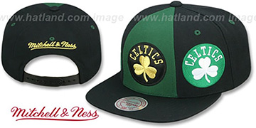 Celtics TRIPLE STACK SNAPBACK Green-Black Hat by Mitchell and Ness