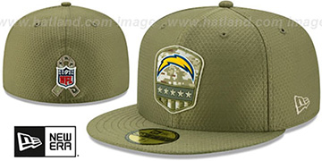 Chargers 2019 SALUTE-TO-SERVICE Olive Fitted Hat by New Era