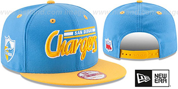 Chargers '2T RETRO-SCRIPT SNAPBACK' Sky-Gold Hat by New Era
