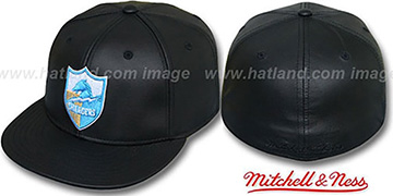 Chargers LEATHER THROWBACK Fitted Hat by Mitchell and Ness