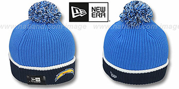 Chargers 'NFL FIRESIDE' Blue-Navy Knit Beanie Hat by New Era