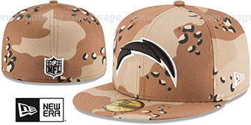 Chargers NFL TEAM-BASIC Desert Storm Camo Fitted Hat by New Era