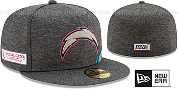 Chargers 'ONFIELD CRUCIAL CATCH' Grey Fitted Hat by New Era