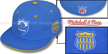Chargers SCRIMMAGE PATCH Blue Fitted Hat by Mitchell & Ness