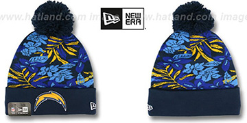 Chargers 'SNOW-TROPICS' Navy Knit Beanie Hat by New Era