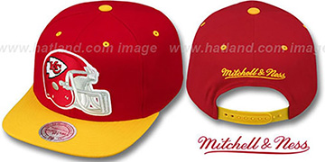 Chiefs '2T XL-HELMET SNAPBACK' Red-Gold Adjustable Hat by Mitchell & Ness